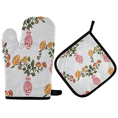 HMZXZ RXYY - Manoplas de cocina con forro de algodón acolchado, guantes de barbacoa, guantes de horno y soportes para ollas, resistentes al calor, alfombrillas seguras para hornear y cocinar