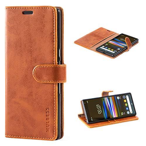 Mulbess Handyhülle für Sony Xperia 10 Plus Hülle Leder, Sony Xperia 10 Plus Handytasche, Vintage Flip Schutzhülle für Sony Xperia 10 Plus Hülle, Braun