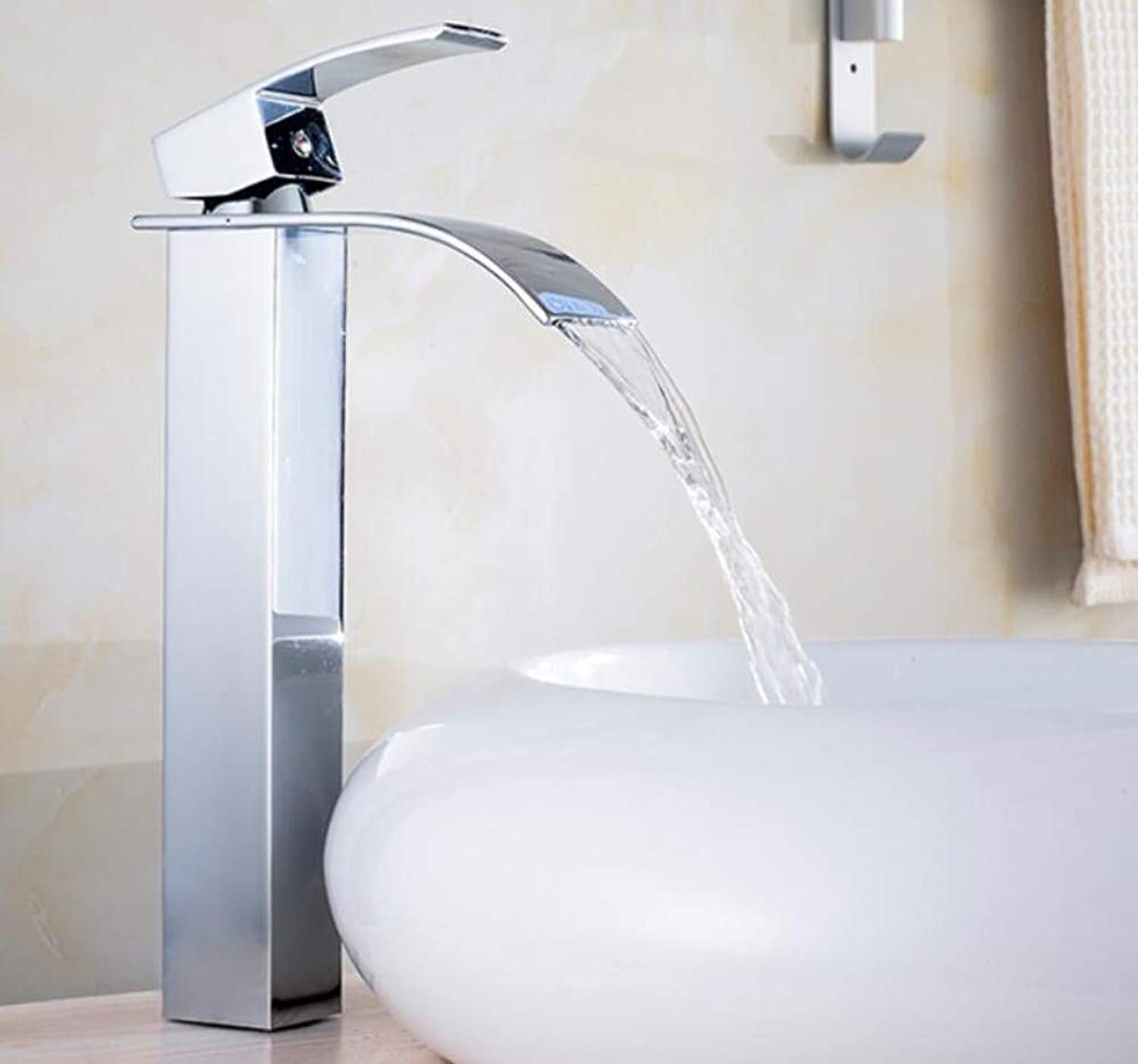 Wasserhahn Waschbecken Copper Hot And Cold Water Faucet Flat Mouth Waterfall Wash Basin Faucet Single Hole Single High And Low Wash Basin Faucet