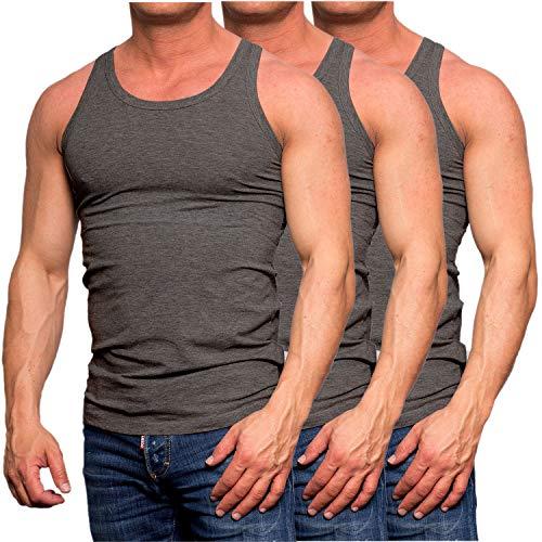 JACK & JONES Herren Tank Top 3er Pack Muskelshirt Baumwolle Unterhemd Weiß Schwarz Slim Fit (3er Pack Dunkelgrau, M)