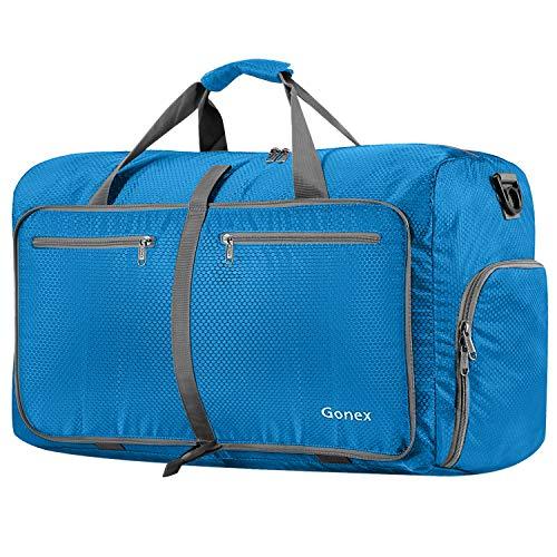 Gonex Bolsa de Viaje 80L, Plegable Ligero Bolso Equipaje Maleta Grande Bolsas Deportes Gimnasio Maletas de Mano Impermeable Duffel Travel Bag para Hombres y Mujeres Fin de Semana (Azul Oscuro)