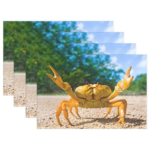 TropicalLife Funny Crab Place Mats Non Slip Table Placemats Washable Heat Resistant for Home Kitchen Dining Table Decoration Set of 4