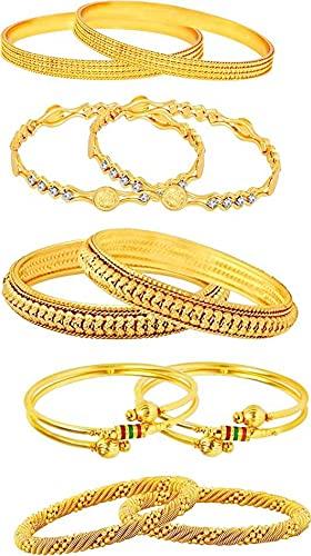 Juego de 9 pulseras de aleación con perla chapada en oro, tamaño 2 – 8