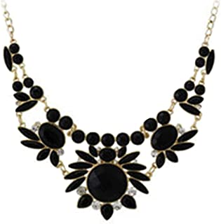 Gemcres Statement Choker Necklace Black Crystal Flower Collar Necklaces Party Necklace Jewelry Adjustable for Women Girls