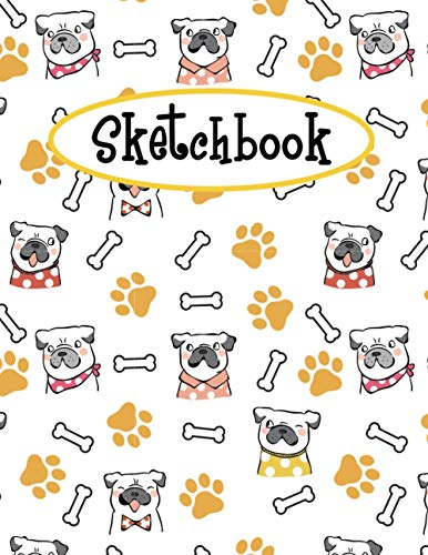 Sketchbook: Cute French Bulldog Sketchbook | Large Blank Paper For Drawing, Doodling Painting, Or Sketching | Gifts for Kids Girls Boys Teens and Dog ... | Pretty Little Puppies Pattern Cover Design