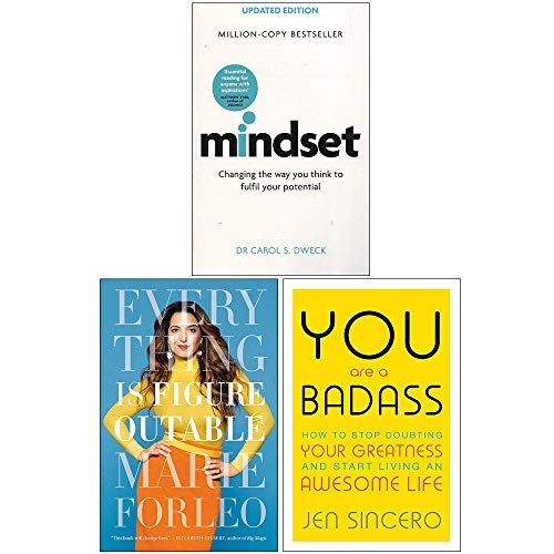 Mindset, Everything Is Figureoutable, You Are A Badass 3 Books Collection Set