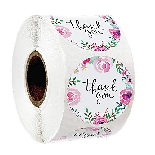 500 pegatinas de agradecimiento, etiquetas adhesivas con pegatinas de sellado de flores, Boutique Supplies pegatinas de panadería, pegatinas de boda, fiestas, sobres, regalo de 2,5 cm