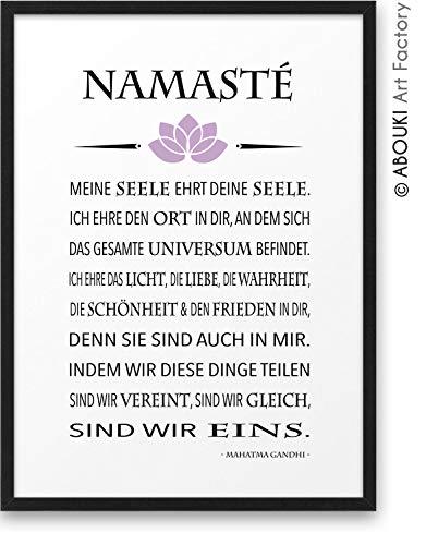 NAMASTÉ Zitat Gandhi ABOUKI Kunstdruck - ungerahmt - Geschenk-Idee Geburtstag Weihnachten Grußformel Grußgeste Yoga Chakra Meditation Zen für Sie Ihn Frauen Männer Freund Freundin DIN A4