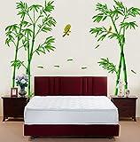 Skyeye Sala Dormitorio Hogar Decorativas Adhesivas DIY Arte Murales, Estilo Bambú Verde Bosque Pájaro