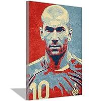 ジダンキャンバス絵画アートポスターキャンバス壁アート絵画サッカーファン寝室リビングルームスタジオ家の装飾ポスター絵画20x30cm(8x12inch)フレームなし