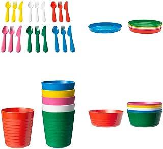 Ikea Kalas - Cubertería de plástico para niños, juego de 36 piezas, 6 cuchillos, 6 tenedores, 6 cucharas, 6 cuencos, 6 platos y 6 tazas