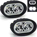 Dual Halo Led Headlight, Ourbest Led Motorcycle Driving Lights, Spot Beam Cree 4' 20W Fog Auxiliary Lights...