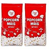 Popcorn Mais Butterfly 2 x 500g Kinopopcorn für Popcornmaschine Popcornloop Beste Gold Qualität Ohne Gentechnik Vegan Glutenfrei
