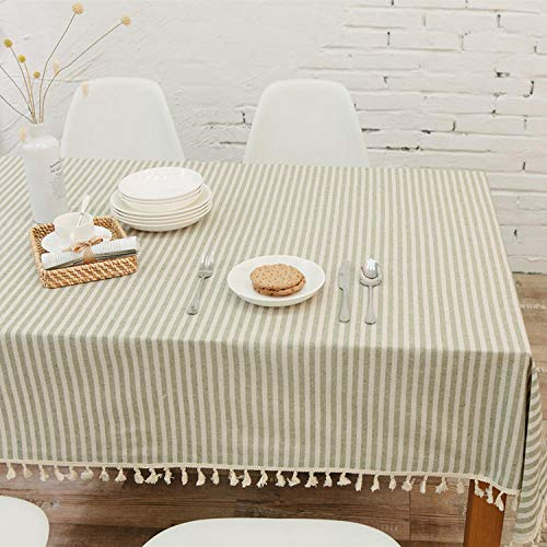 Table Cloth, Anti-Crease Stitched Tassel Table Cloth, Cotton...