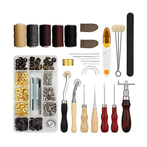 MOPOIN Juego de herramientas para cuero, 28 piezas, herramientas para coser a mano, con punzón, aguja acolchada, hilo de cera, dedal y otros accesorios para trabajos de cuero