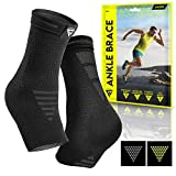 Langov Ankle Brace Support for Men & Women (Pair), Best Compression Sleeve Socks for Your Foot or Sprained Ankle, Helps With Achilles Tendonitis and Injury Recovery, swelling or heel pain, nano socks