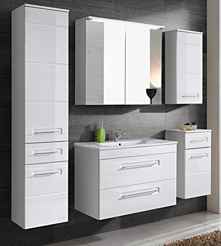 Active Badmöbel-Set/Badmöbelanlage/Komplettbad 6-teilig, weiß hochglanz, mit Waschtisch 60 cm, Spiegelschrank mit LED-Beleuchtung
