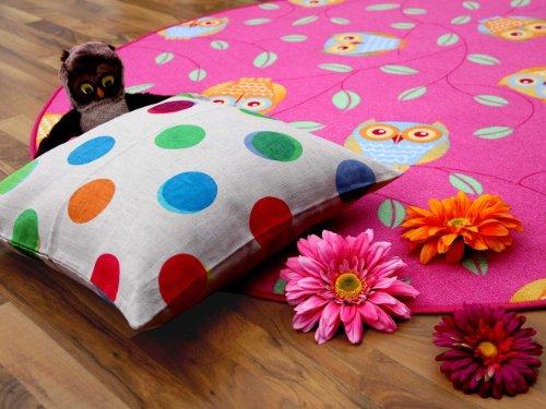 Kinderteppich Eule – rund (rosa) - 2