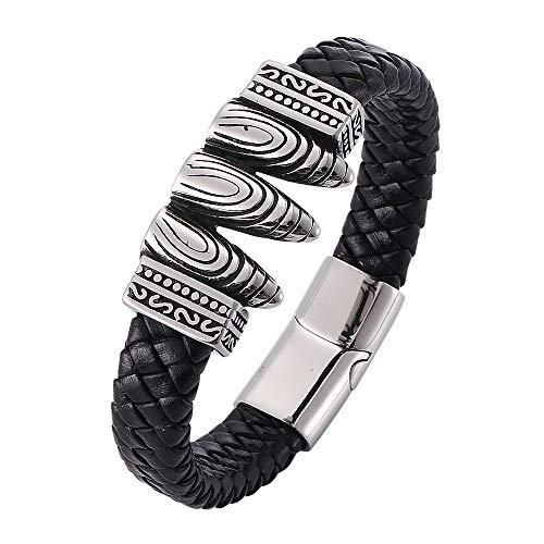 Pulsera de bala de triple hilo creativo de tendencia de roca de acero de titanio, pulsera de cuero para hombre, pulsera de moda
