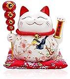 Maneki Neko Winkekatze Glückskatze Glücksbringer Winkende Katze aus Porzellan,Weiß L26xW19xH23cm,3
