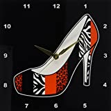 3dRose DPP_57145_1 I Love Shoes Animal Print High Heel Shoe Red Cheetah and Zebra Wall Clock, 10 by 10-Inch