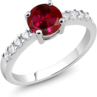 Gem Stone King Red Created Ruby Women's Engagement Ring (1.79 Ct Round Available in size 5, 6, 7, 8, 9)