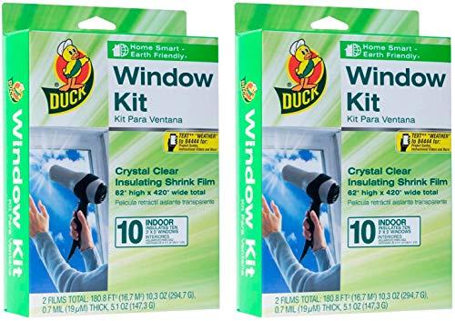 Duck Brand Indoor 10-Window Shrink Film Insulator Kit, 62-Inch x 420-Inch, 286216, 2 Pack