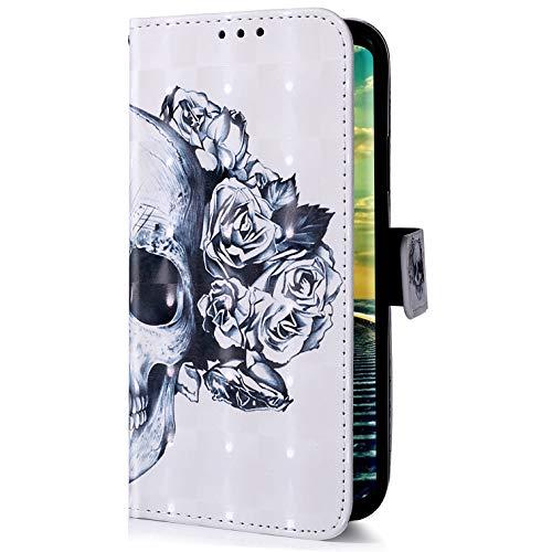 Uposao Kompatibel mit Samsung Galaxy A50 Handyhülle Glitzer Bling 3D Bunt Leder Hülle Flip Schutzhülle Handytasche Brieftasche Wallet Bookstyle Hülle Magnet Ständer Kartenfach,Totenkopf