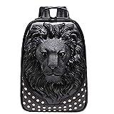 3D lion head backpack bookbag, unique designer PU leather fashion travel laptop backpack (black)