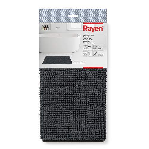 Rayen Alfombra de Baño Base Antideslizante | 100% microfibras | Ultra Suave | Miltifuncional | Dimensiones Color Negro, Gris, Medidas: 80 x 50 cm