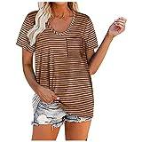 Camiseta de manga corta para mujer con cuello en U, diseño de rayas, holgada, informal, dulce, para verano, cómoda, túnica, camiseta interior deportiva marrón S
