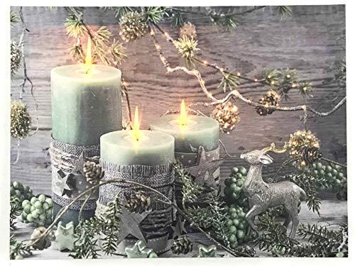 Jürgen Schleiß Konfektion LED-Bild Leinwandbild Leuchtbild Wandbild 30x40cm flackernd Wellnes Kerze Weihnachten Winter