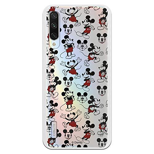 Funda para Xiaomi Mi A3 Oficial de Clásicos Disney Mickey Caras y Siluetas Transparente para Proteger tu móvil. Carcasa para Xiaomi de Silicona...