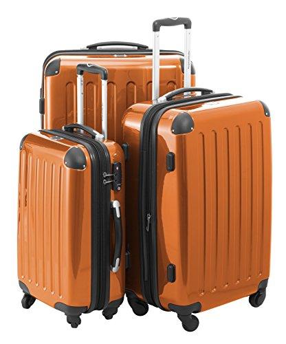 Capitale, Valigia Rigida Alex 3er Set con lucchetto a combinazione con valigetta ciondolo in nero (Set da 3) verde Orange Set da 3
