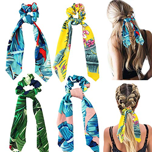 CIEOVO 4 Pieces Hair Scrunchies Silk Elastic Hair Bands- Scarf Silk Bowknot Hair Ties, Ponytail Holder Scrunchy Rope Hair Accessories for Women Ladies