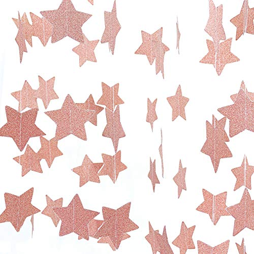Rose Gold Hanging Paper Garlands Decorations Twinkle Stars Wedding Bachelorette Party Ceiling Hangings Banners Bridal Shower Baby Shower Birthday Nursery Party Favors Decorations, 26ft
