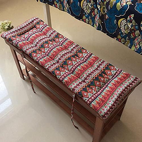 MERCB Cojín rectangular para banco de jardín para muebles de interior al aire libre, patio largo antideslizante de repuesto para silla, cojín de asiento con patrón de sofá de 122 x 35 x 2 cm
