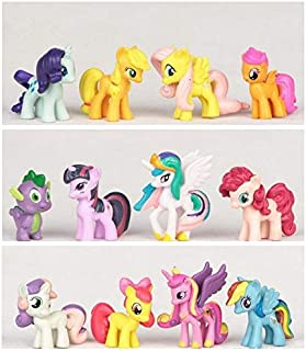 YOYOTOY 12Pcs/Lot Pony Horse Action Figures Toys Doll Set Rainbow Dash Sparkle Apple Jack Spike Kids Gift Must Have Items The Favourite Toys Superhero Party Decorations