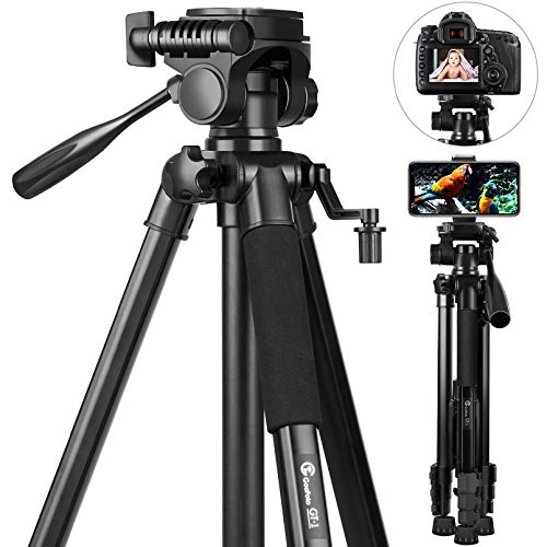 sony lightweight tripods 58 inch Camera Tripod, GooFoto 6.6lb/3KG Load Portable Phone Tripod, Lightweight Aluminum Travel Tripod for iPhone/Phone/Nikon/DSLR/Sony/Canon with Carry Bag & Phone Clip