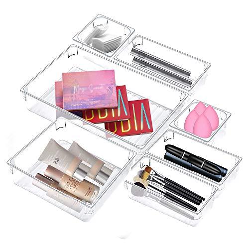 PERFETSELL 7 Pcs Organizadores de Plastico para Cajones Organizador Cajones Baño Separadores de Cajones de Escritorio Cajas Organizadoras Transparentes Baño Bandejas para Maquillaje Papelería Joyas