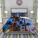 VICCHYY Juego de Funda nordica,Ropa de Cama,Art Deco Hotels Miami,Microfibra,Edredon 200x200cm con 2 Fundas de Almohada 50x80cm