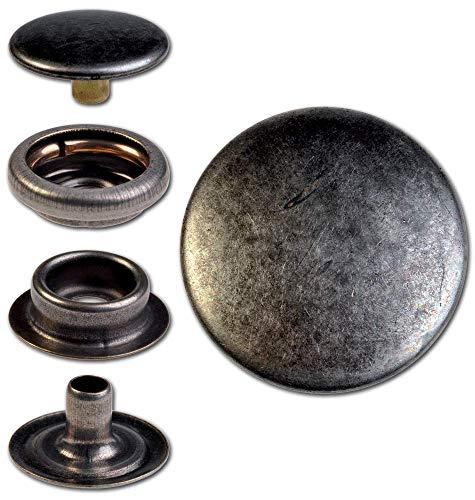 Hoppe & Masztalerz 15 Ringfeder-Druckknöpfe F3 14mm aus Messing (nickelfrei), Finish: Nickel-antik, Verschlusskraft: leicht