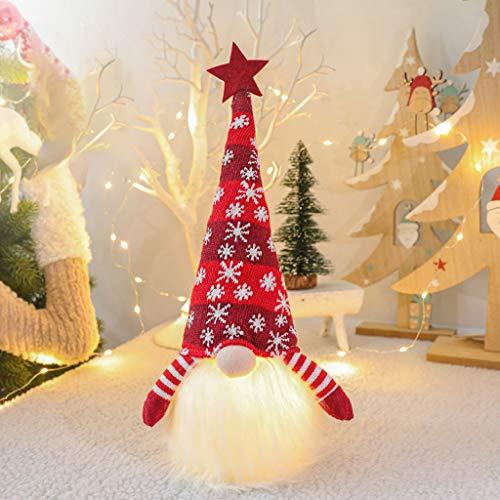 DENGHENG Weihnachtselfendekoration langer Hut schwedischer Zwerg Tomte Puppe Ornamente LED Licht rot