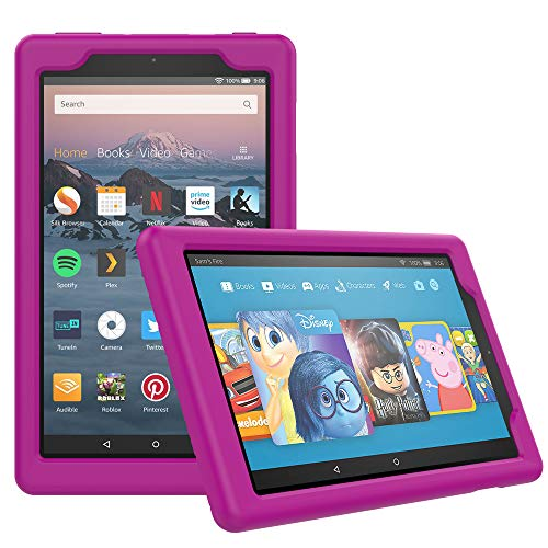 MoKo Case for All-New Amazon Fire HD 8 Tablet (7th/8th Generation, 2017/2018 Release) - Light Weight Shock Proof Soft Silicone Back Cover [Kids Friendly] for Fire HD 8, Fuchsia