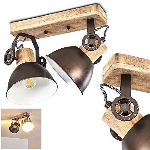 Deckenleuchte Orny, 2-flammig, mit verstellbaren Strahlern, Deckenlampe aus Metall/Holz in Schwarz/Braun, 2 x E27-Fassung max. 60 Watt, Spot im Retro/Vintage Design, für LED Leuchtmittel geeignet