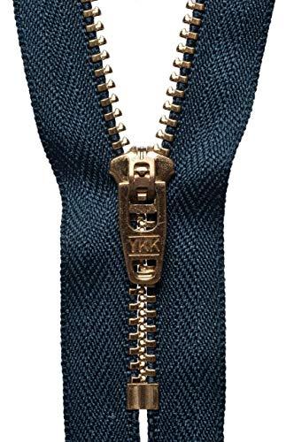 Hochwertige YKK-Reißverschlüsse, Messing, halb-automatisches Schließen, für Hosen, Jeans, Kordeln (Marineblau, 18 cm)