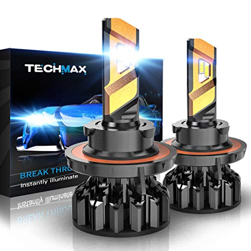 TECHMAX H13 LED Headlight Bulbs, Cree Chips 12000Lm 6500K Xenon White Extremely Bright 9008 Conversion Kit of 2