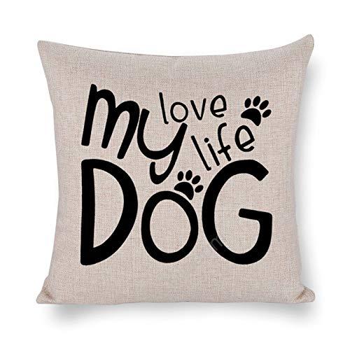 Yilooom Fundas de almohada cuadradas de lino de algodón de 30,5 x 30,5 cm, fundas de cojín, cama, sofá, coche, decoración del hogar, feliz día de San Valentín, mi amor perro vida