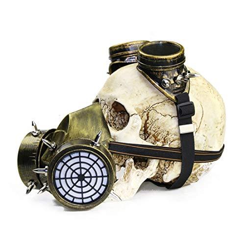 BILALE Biohazard Steampunk Máscara de Gas Gafas Gafas Espigas Esqueleto Guerrero Máscara de la Muerte Mascarada Cosplay Accesorios de Disfraces de Halloween Máscara de Miedo (Color : Style2)
