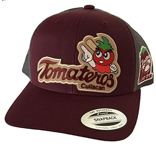 Tomateros de Culiacan 2 Logo Maroon Khaki hat Maroon Grey mesh